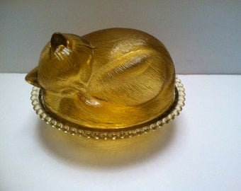 Adorable Amber Glass Cat sleeping Candy Dish