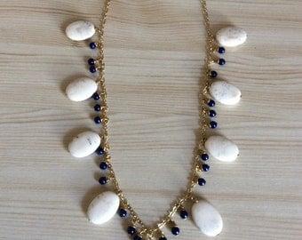 Unique Gold Magnesite and Lapis Necklace