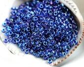Denim Blue Seed beads, Toho seeds, size 11/0, Inside-Color Luster Crystal/Dark Capri Lined, N 193 - 10g - S441