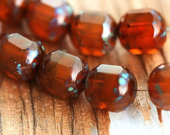 Picasso beads, dark Caramel brown - czech glass beads, fire polished, round cut, faceted - 10mm - 10Pc - 2067