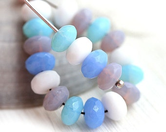 Pastel beads mix, Czech glass - Blue, Pink, White, Sky blue beads, fire polished spacers, rondels, gemstone cut - 4x7mm - 25Pc - 2222