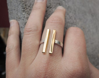Mixed Metals - 2 Long Structural Bars - Open Ring - Parallel - Sterling Silver 925  Brass - Sustainable Silver - Adjustable - Made to Order