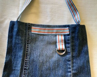 Upcycled, Recycled, Repurposed Jean purse with Stripped Strap, inside pocket - Upcycled Accessories- By: Turn the Paige