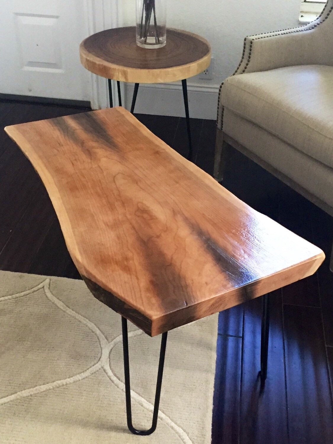 Exotic Live Edge Wood Coffee Table