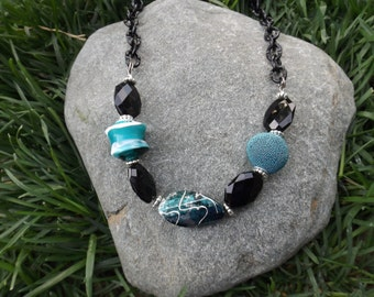 Black and Teal Beaded Bib Necklace
