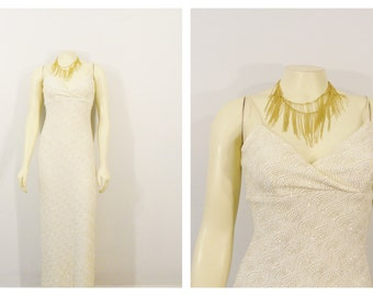 Vintage Dress 90s Formal Dress Ivory Gold Silver Metallic Gown Backless Stretchy Slinky Gown Modern Small to Medium