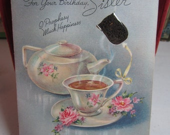 Pretty 1940's Rust Craft novelty artist's guild designed birthday card graphics of teapot and tea cup real tea bag inserted into card design