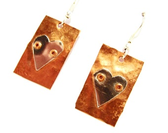 Cute Copper Earrings with Hand Riveted Tin Hearts