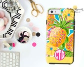 Monogrammed iPhone Case - iPhone 6/5s/5 - Personalized Cell Phone Case - Sunrise Pineapple