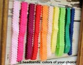 "Skinny Lace Headbands Wholesale - Set of 10  - 3/4"" Frilly Elastic Lace Headbands - Wholesale Lace Baby Headbands"