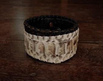 Steampunk Snake Skin Cuff Bracelet // white // animal // leather // unique // raw // rocker // hippie // python