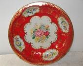 Vintage Daher Tin Tray Bowl, Round Metal Red Floral Asian Design England