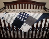 Nautical Baby Crib Bedding - Gray Anchors, Navy Dot, Gray Stripe, and Navy Crib Bedding Ensemble with Blanket or Patchwork Blanket