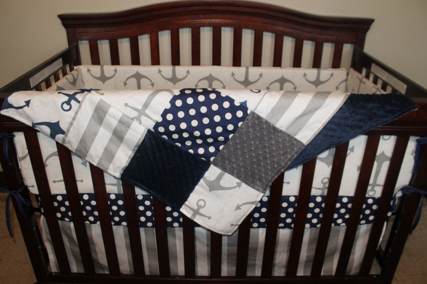 Nautical Baby Crib Bedding Gray Anchors Navy Dot Gray