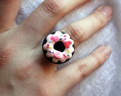 Red and Pink Hearts Doughnut. Ring.