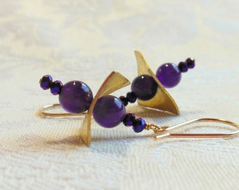 Amethyst and gold earrings, amethyst round beads, gold filled wires, gold plated squares, made to match ametrine and citrine necklace