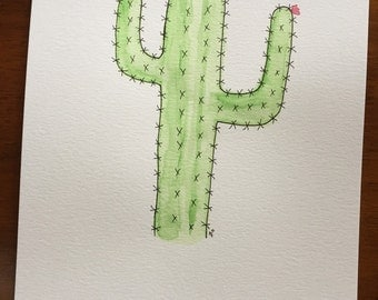 Watercolor Painting - Cactus