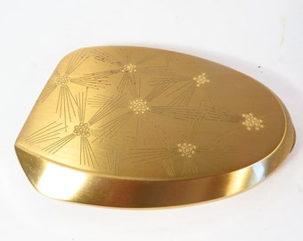 Vintage 1960s Ladies Brass Elgin American Compact Mirror - Oval Gold Tone Compact with Mirror and Powder Puff
