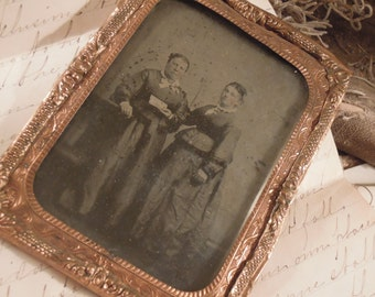 Antique Photograph / Daguerreotype / Copper Frame / Antique Portrait Victorian Ladies / Cabinet Photo / Ephemera / Mixed Media / Blogging