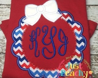Bow Scallop Monogram Frame Machine Embroidery Applique Design Buy 2 for 4! Use Coupon Code 50OFF