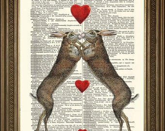 """HARES IN LOVE Print: Loveheart Animal Art, Retro Vintage Dictionary Page Wall Hanging (8 x 10"""")"""
