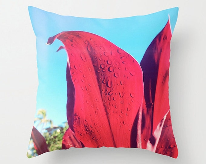 Red Sofa Pillow, Tropical Accent Pillow, Botanical Detail Throw Pillow Cover, Red Leaf Cushion 18x18 22x22 Decorative Pillow Cushion