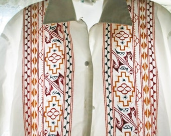80's Embroidered cotton tunic blouse size small