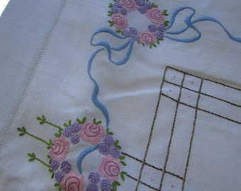 Linen Embroidered Tablecloth Rectangular Vintage Large 52 by 57