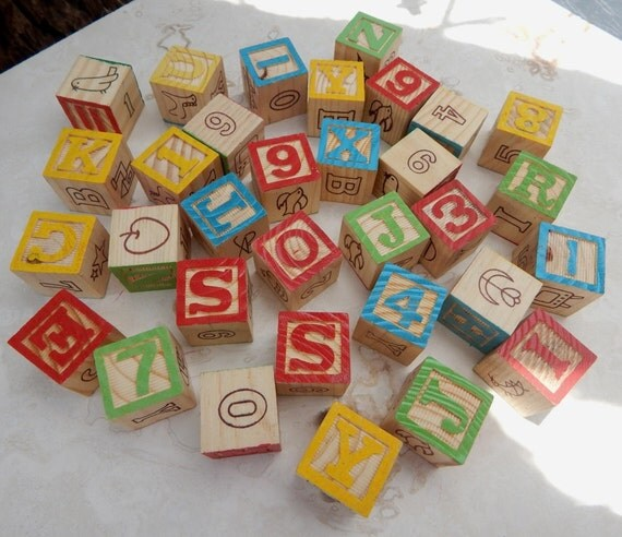 Small Wooden Alphabet Blocks  --  32 Wooden Blocks
