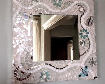 White upcycled mirror