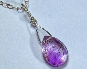 Amethyst Necklace, Gemstone Necklace, Wire Wrapped, Moss Amethyst Bead, Sterling Silver