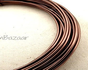 Aluminum wire for jewelry and crafts, 2mm 12 gauge round, soft brown, 39 foot coil