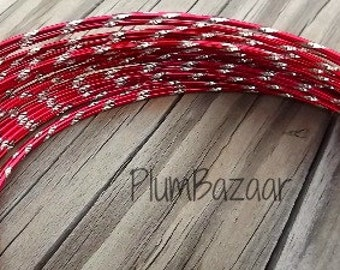 Aluminum wire for jewelry and crafts, 2mm round diamond cut red and silver color