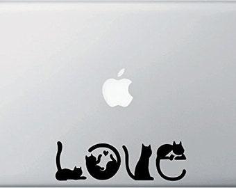 "MB - Cats Spell Love - Macbook Laptop Vinyl Decal - © Yadda-Yadda Design Co. (6.25""w x 2""h) (Colors)"