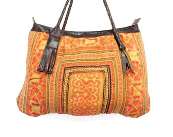 Hill Tribe Tote Bag With Genuine Leather Strap Thailand (BG019L.9P204)