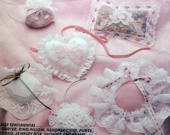 Bridal Crafts, Pattern, McCall's 681, Wedding Crafts, Wedding DIY,  Garter Pattern, Ring Pillow Instructions, Purse Tutorial, Lacy Wedding