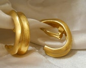 Givenchy Gold Tone Heavy Industrial Half Hoop Clip Earrings