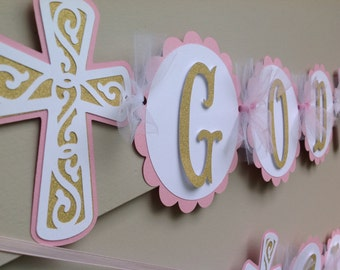 God Bless Banner Baptism Baby Dedication Christening Confirmation Pink and Gold