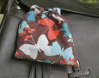 Ready to Ship - Brown, Aqua, and Coral Butterfly Print Reversible Stirrup Covers