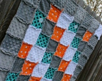 Orange, Aqua/Teal/Turquoise & Gray Rag Quilt/Blanket! Perfect baby shower/ birthday gift, would be striking boy nursery crib bedding/quilt
