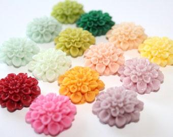 Resin Flower Cabochons - 20pcs Chrysanthemum Mum - 22mm Cameo Flat Back