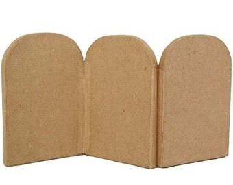 Icon Three Fold Plain Papier Mache - Triptych Art - Decorate Paint Craft - Small