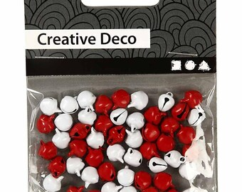 Mini Bells - Jingle Bell - Christmas Craft Decoration Charm - Red & White x 50 - 8mm