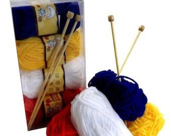 Childrens Knitting Kit - Needles Wool Instructions - Beginners Basic Knit Craft Gift