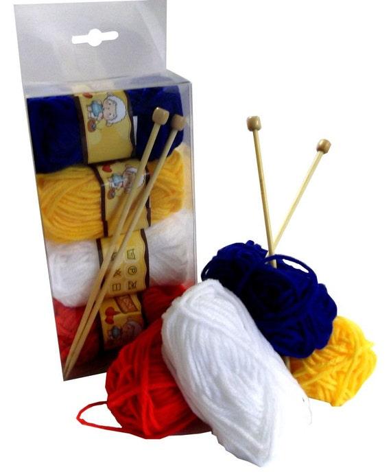 Childrens Knitting Kit Needles Wool Instructions Beginners