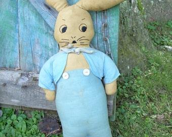 Antique Primitive Handmade Stuffed Bunny Rabbit Doll Wearing Blue Suit