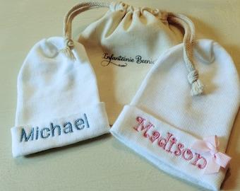 NEW TO SHOP!  Monogrammed newborn hospital hat, monogrammed, custom newborn hat, monogrammed newborn hat, newborn hat, newborn, hat