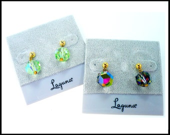2 Pair AB Crystal Earrings, Aurora Borealis Petite Pierced Earrings, Watermelon & Light Green AB, Laguna New Old Stock, Gift For Her