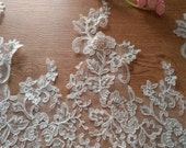 Super Wide French Luxury Sequined Alecnon Trim in Ivory Lace for DIY Weddings, Veils, Gowns