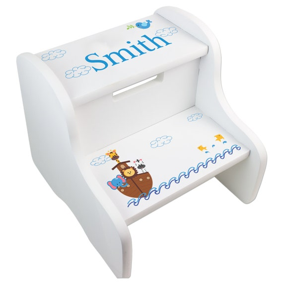 Personalized Noah S Ark Step Stool For Noahs Ark Nursery